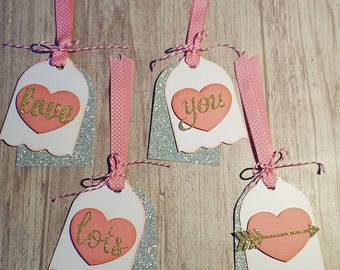 Heart Tags, Love You Lots, Birthday Tags, Valentine's Day Tags, Love Tags, Handmade Tags, Unique
