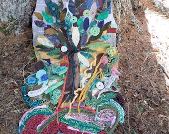 Panel decorative fabric tree glued and sewn