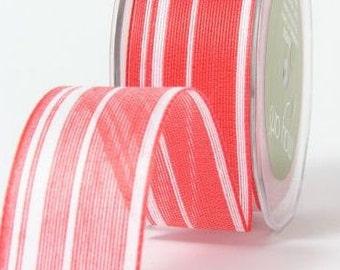 DÉGAGEMENT - Jute - Ogranic coton mélange ruban à rayures - rouge & blanc