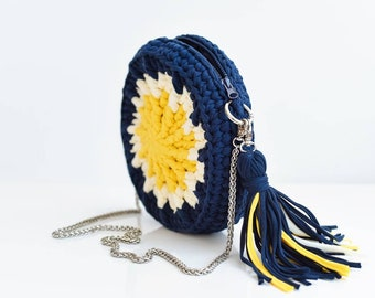 Crochet bag Crochet crossbody bag Shoulder bag Crochet round bag Chain bag Bright summer bag Casual women's bag Crochet messenger bag