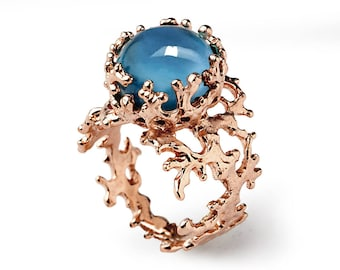 CORAL London Blue Topaz Engagement Ring, Rose Gold Ring, Rose Gold Blue Topaz Ring, London Blue Topaz Ring, Memorial Day