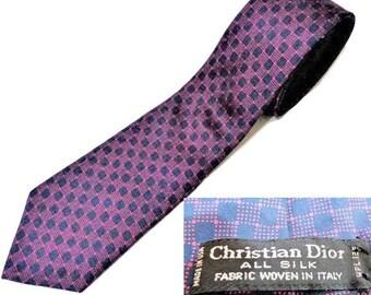 Christian DIOR Tie, Christian Dior Silk Necktie, Blue Purple Silk Tie, Vintage Designer Necktie, Gift for Men, Woven in Italy, Made in USA