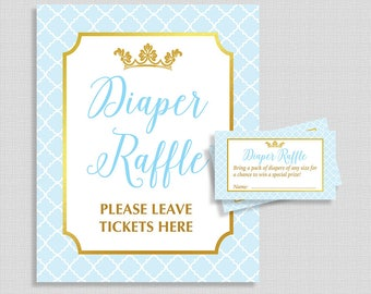 Diaper Raffle Sign and Tickets, Prince Light Blue & Gold Shower, Baby Boy, DIY Printable Invite Insert, INSTANT DOWNLOAD