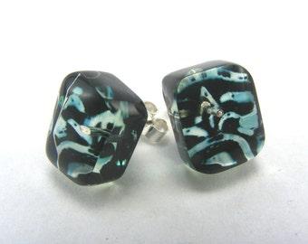 Black Friday Tiny Studs, Green Black Tile pattern, Handmade post earrings