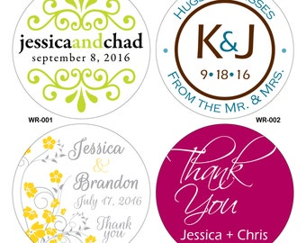 84 - 2.5 inch Glossy Wedding Stickers Labels Seals -many designs to choose from - change designs to any color or wording