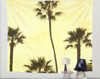 Wall Tapestry, Palm Tree Tapestry, California Wall Hanging, Photo Tapestry Wall Decor, Tree Wall Tapestry, Yellow, Sunset, Tree Wall Hanging