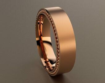 Rose Gold 6mm Brushed Mens Wedding Band, Recessed Beading, 14kt Pink Gold Designer Mens Wedding Ring, Red Gold Simple Rustic Wedding Ring