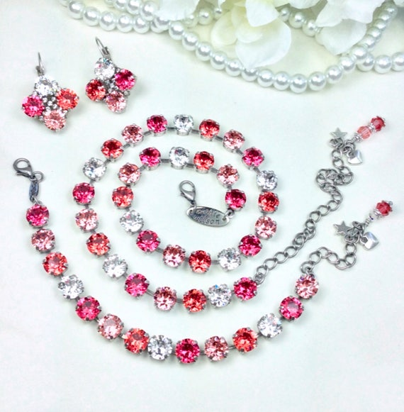 """Swarovski Crystal 8.5mm Necklace, Bracelet """"Peaches & Cream"""" - Indian Pink,Rose Peach,Crystal,Padparadscha -Designer Inspired -FREE SHIPPING"""