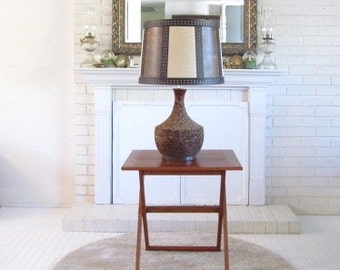 Vintage Cork Table Lamp with Colorblock Textured Shade, boho 1970s