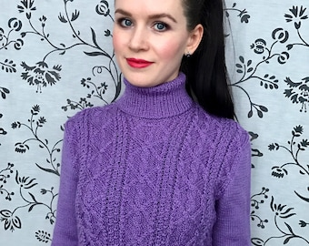 Knitted pullover with patterns