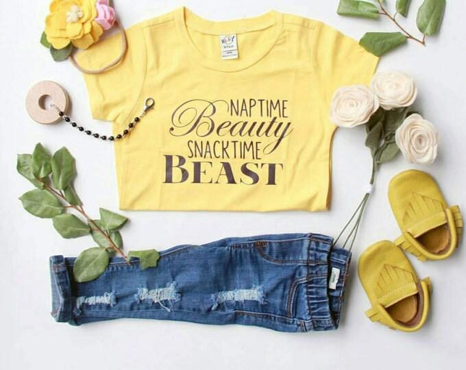 Kids Tee - Naptime Beauty Snacktime Beast T-shirt - Youth Size - Kid Shirt, Kids Tee, Beauty and the Beast, Belle
