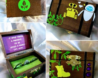 """Disneys Wall-E & EVE  inspired Proposal Ring Box w/ Quote inside: """"It only takes a moment... To be loved a whole life long."""""""