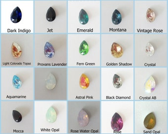 4pcs x Swarovski 14x10mm Pear Shape Multi Colors Crystal 4320 (S43201410)
