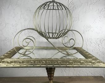 Cinderella Coach Centerpiece / Gold Wire Carriage / Fairytale Wedding Centerpiece