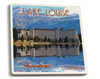 Banff, Canada - Lake Louise - LP Artwork (Set of 4 Ceramic Coasters)
