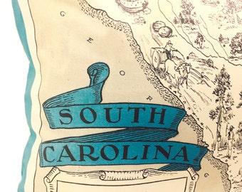 South Carolina Vintage Map Pillow Cover with Insert
