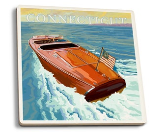 CT- Chris Craft Boat - LP Artwork (Set of 4 Ceramic Coasters)