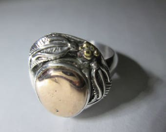 ring, size 7 1/2... Shibuichi and Sterling Silver