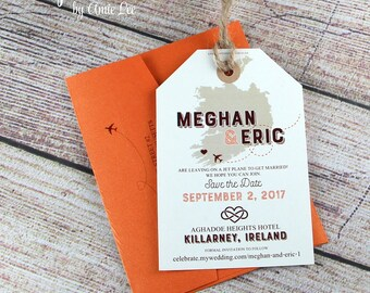 Save the Date Luggage Tags, luggage tag, save the date, wedding invitation, Ireland Wedding, Map Save The Date