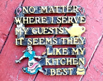 Vintage Metal Hot Plate Kitchen Plaque