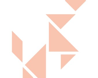 DIY tangram wall decal peach