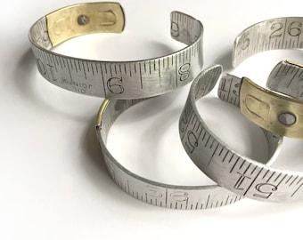 Medium Size Ruler Bracelet Vintage Repurposed Upcycled Aluminum Brass Cuff Him or Her Graphic Carpenter Dressmaker Seamstress