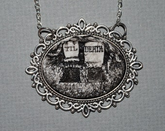 Creepy Cute Gothic Resin Cameo Necklace  -  Till Death Double Grave- Black and White