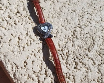 Beautiful Vintage leather band Brighton  Watch new Battery,