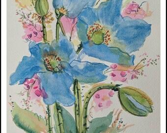 Himalayan Blue Poppies, flower original watercolor painting