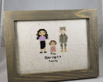 Custom Military Family Portait, Personalized, Air Force, Army, Coast Guard, Navy, Gift, Wall Art, Home Decor, Handmade, Deployment