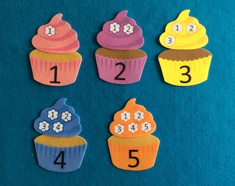 5 cupcakes at the bakery store//felt stories//felt board stories//matching numbers game//educational toy//traveling toy//play money