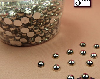 300 pcs 3 mm Silver CHROME HALF PEARL Flatbacks / Decoden Half Pearls