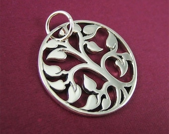 20mm Sterling Silver Tree of Life Pendant Nature Charm Round Pendant Woodland