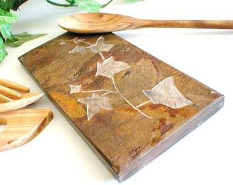 Ivy Spoon Rest - Hand Carved Natural Slate Stone - Kitchen Decor, Housewarming Gift for the Cook Chef Her, Trivet Spoonrest