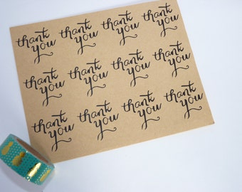 Pack of 24 Thank YOU kraft stickers - thank you card - wedding