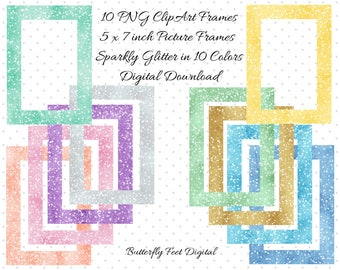 Sparkle Glitter Clipart Frames, PNG Clip Art, Picture Frames, Photo Overlay, 5x7,  Instant Download