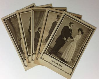 Collection of Five Real Photograph Postcards from the Turn of the Century with a Fun Phrase at the Bottom