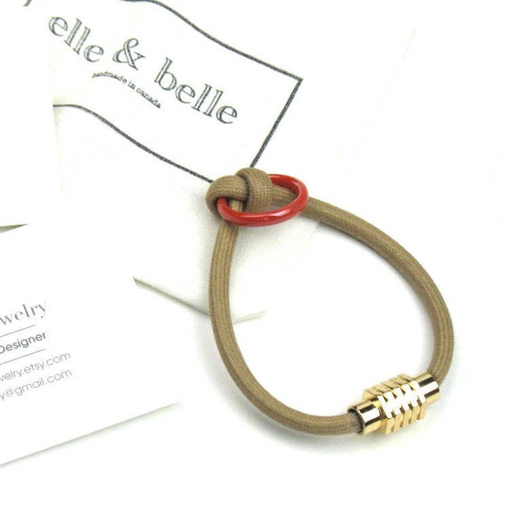 Knot Bracelet in Beige Mokuba Cord with Red-Orange Accent Ring and Gold Magnetic Clasp, Womens Gift