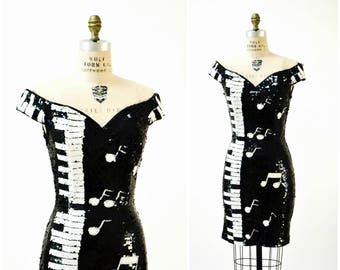 Vintage Black Sequin Dress Piano Music Pop Art Medium Black and White Body Con Sequin Dress 80s 90s Party Dress