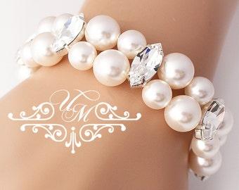Wedding Jewelry Double strands Swarovski Pearl Bracelet Swarovski Crystal Bracelet Bridal Bracelet Bridesmaids Bracelet - EDITH