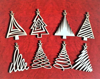 Christmas Tree Ornaments, Set of 8 Christmas tree decoration, Christmas wooden trees, Laser cut xmas trees , Christmas wooden toys