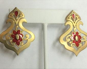 Vintage Gold Plate and Enamel Post Pierced earrings
