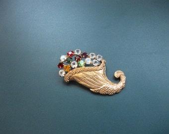 Vintage Signed B. David Multi Colored Glass Rhinestone Cornucopia Brooch Pin