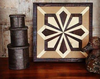 Bohemian Art Mosaic uses Reclaimed Wood. This Organic Art Panel is great for Rustic Decor , Urban Decor & Steampunk Decor. Wall Art 0473