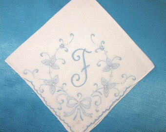 Something Old Wedding Handkerchief Initial F M E B D K R H G or L