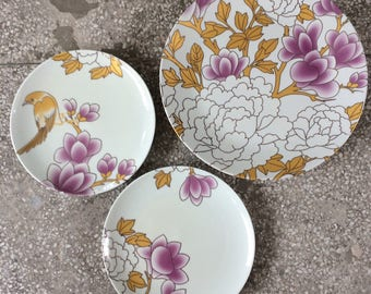 Platter and 2 plates set 'Blossoming Peony'