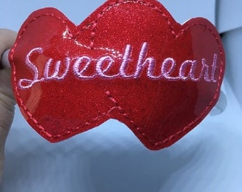 Pretty Embroidered Sweetheart Hairband, Love Hearts, Red Glitter,