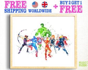 Avengers Prints, Iron Man, Captain America, Hulk, Thor, Black Window, Hawkeye, Superhero, Watercolor Art, Kids Decor, Christmas Gifts -96