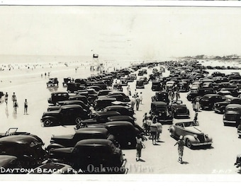 Daytona Beach Cars on the Beach Real Photo Postcard, 1948 B&W RPPC Florida Ephemera, 100s of Vintage Automobiles,