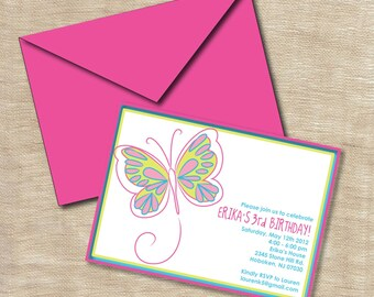 Butterfly Birthday Party Invitation Printable Custom Personalized